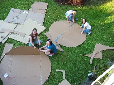 Team Sushi Gone Wild cuts cardboard