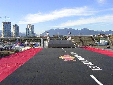 Empty Red Bull Flugtag flight deck facing the bleachers