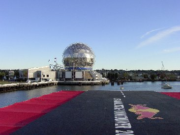 Empty Red Bull Flugtag flight deck facing Science World